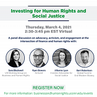 Business and Human Rights: Investing for Human Rights and Social Justice