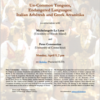 Un-Common Tongues, Endangered Languages: Italian Arbëresh And Greek Arvanitika,